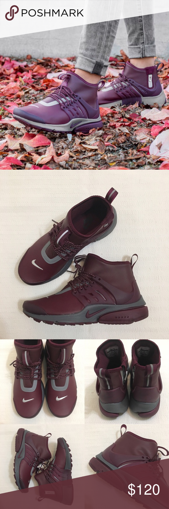 new style 3e02a 2f921 Women s Nike Air Presto Mid Utility Sneakers Women s Nike Air Presto Mid  Utility Night Maroon Sneakers