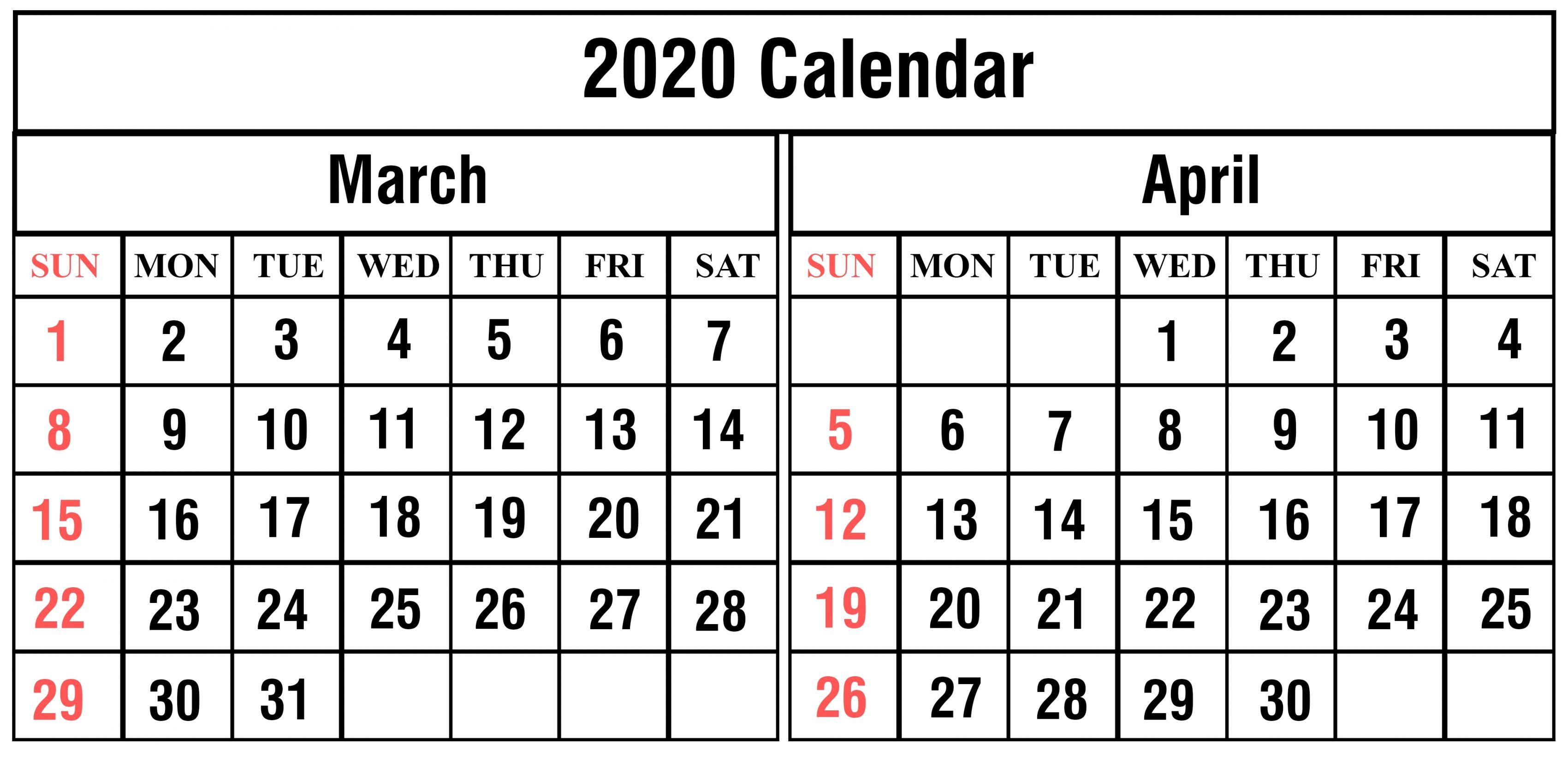 March April 2020 Calendar Free Printable Calendar Templates