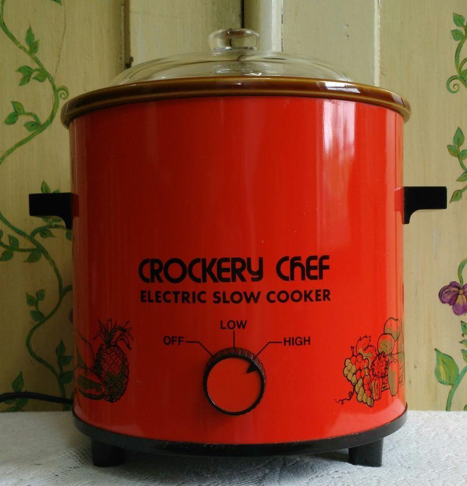 Vintage Crockery Chef Electric Slow Cooker Crock Pot Red Model 1015 Tested Works Vintage Crockery Crockery Slow Cooker Crock Pot