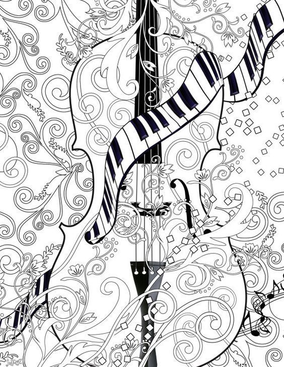 Adult Coloring Page Printable Violin Poster Instant Download