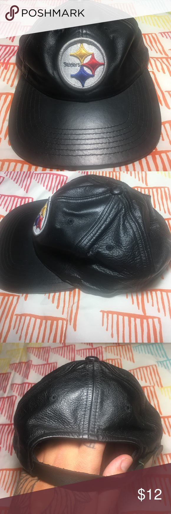 211e28e64 Pittsburgh Steelers Football Leather StrapBack Hat Size One Size -  Condition 8 10 NFL Accessories Hats