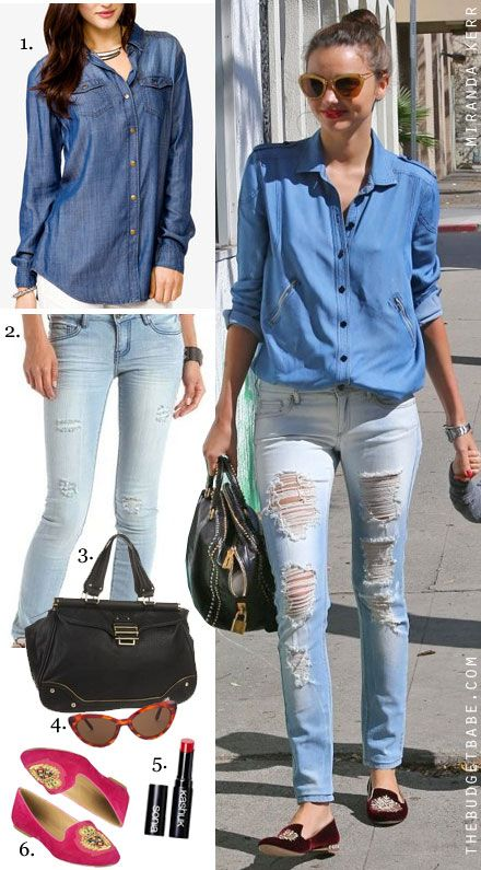 fb5bad19785 chambray shirt + tattered jeans.. perfect casual and comfy look! :)