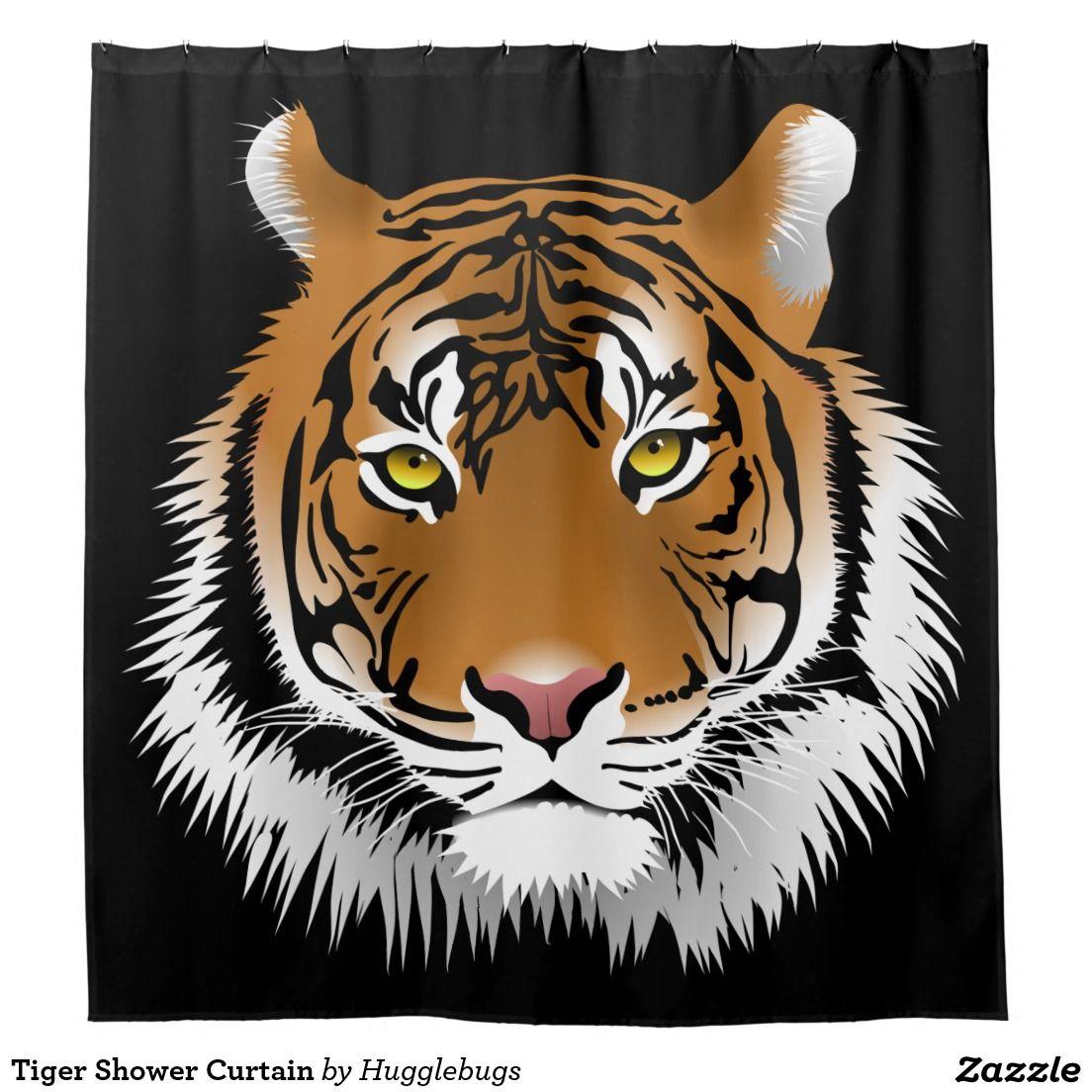 Tiger Shower Curtain Zazzle Com Tiger Illustration Tiger Face