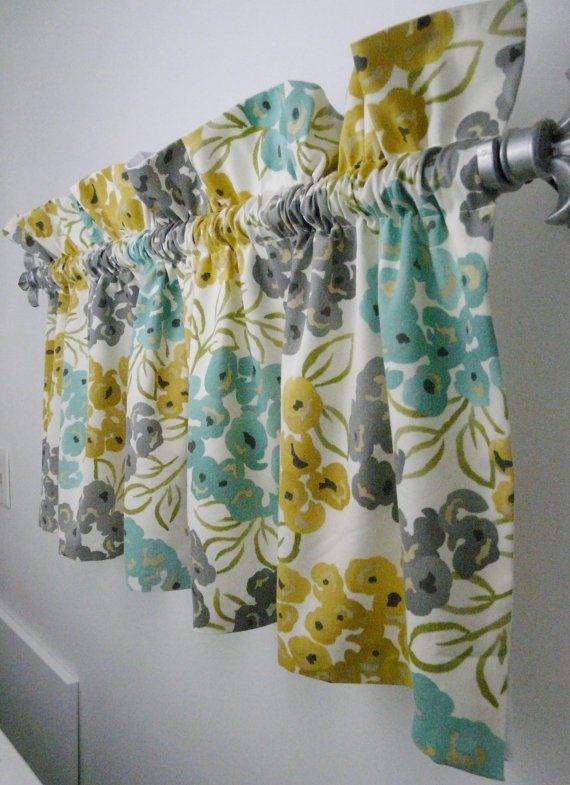 Turquoise Grey Yellow Gold Valance For The Kitchen Bathroom Attractive Soft Colors In A Teal Yellow And Grey Floral Window Treatment Yellow Kitchen Decor Yellow Bathrooms Teal Bathroom
