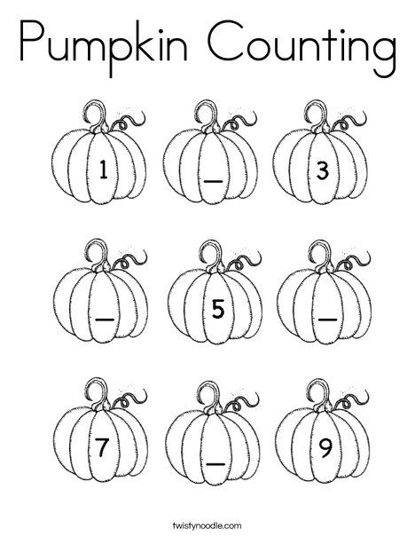 Pumpkin Counting Coloring Page From Twistynoodle Com Halloween