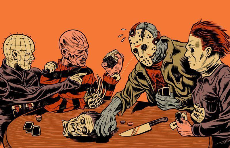 "36/"" X 24/"" Poster Myers Jason Freddy Krueger Slashers Playing Poker"