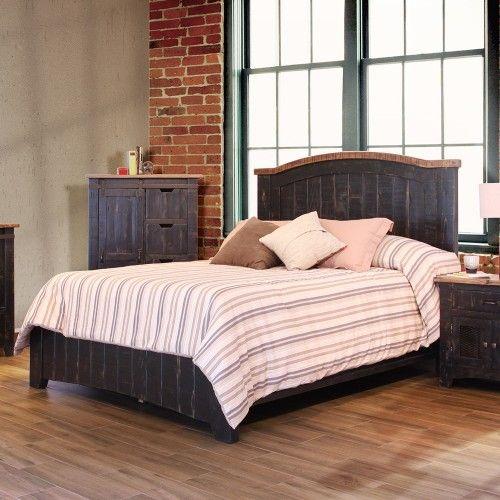 Pueblo Wood Panel Bed In Distressed Black