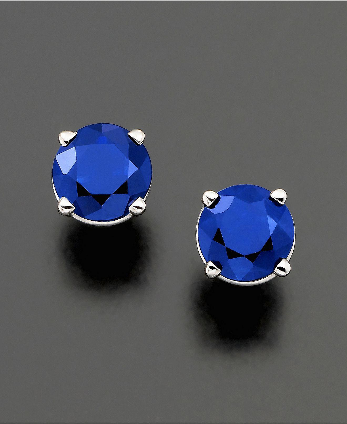 14k White Gold Earrings, Sapphire Stud Earrings (1 ct. t.w.)