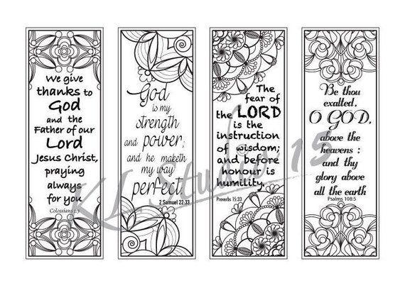 Bible Verse Coloring bookmarks#4, Instant Download | Mandalas ...
