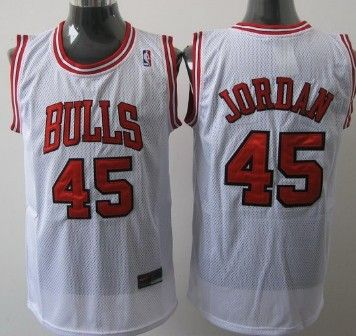 brand new 37900 d3c5d Chicago Bulls #45 Michael Jordan White Swingman Jersey on ...
