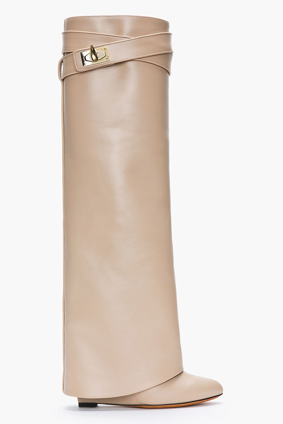 9796dd54180 GIVENCHY Nude Leather Shark Lock Column Wedge Boots