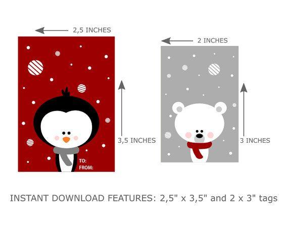 Printable Christmas Tags Digital Christmas Gift di LimitationFree