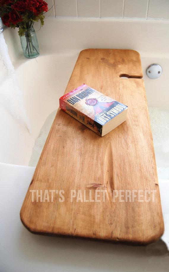 Reclaimed Wood Bathtub Tray, Wine Glass Holder, Bathtub Caddy, Bath ...