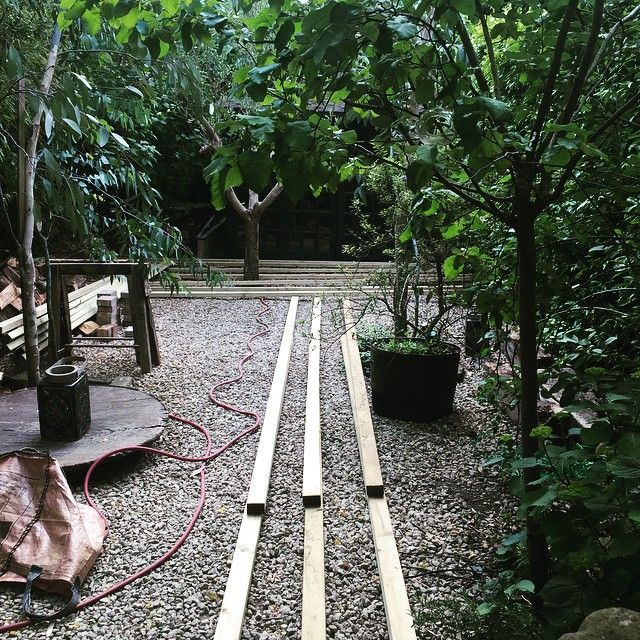 Garden overhaul commences. Pebbles are going a pathway of oak decking will run to the cabin with forest-y inspired planting either side of the path. In theory at least!