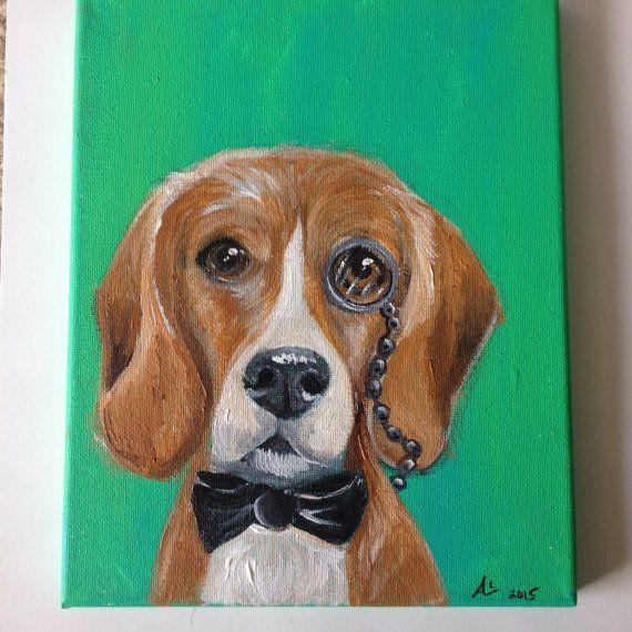 Original Fancy Beagle Painting Beagle Artwork Dog Painting Dog