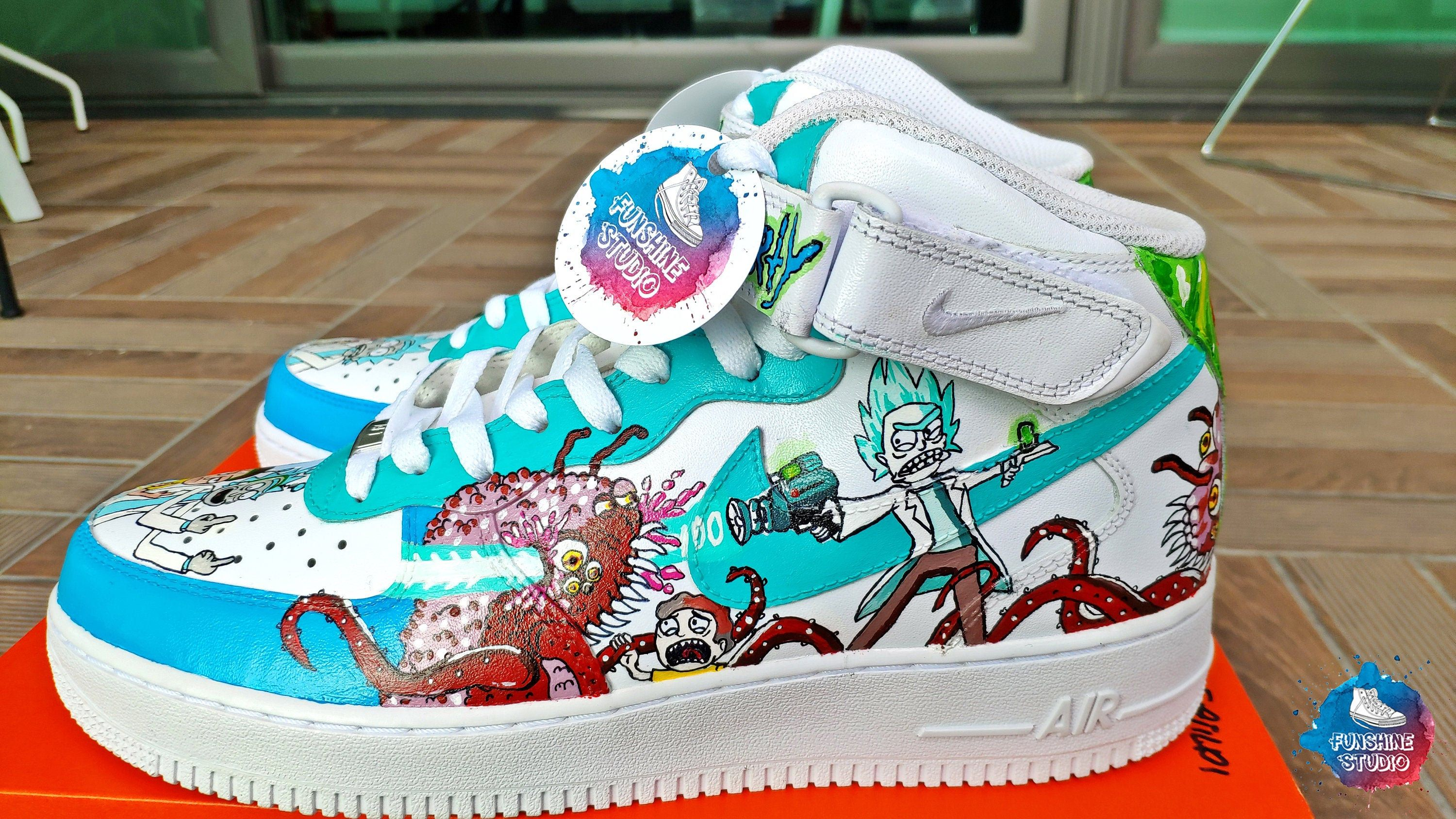 Custom Rick And Morty Nike Air Force, Custom Nike AF 1, AF