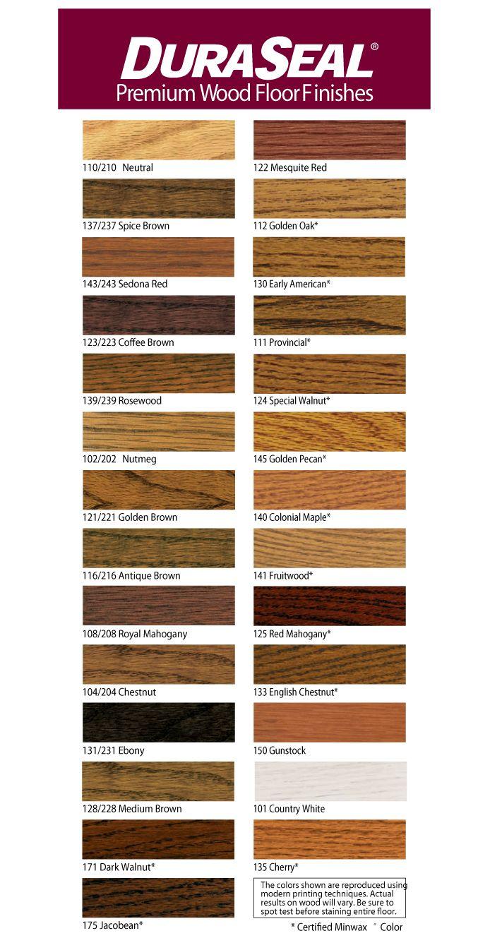 Duraseal Penetrating Finish Color Chart Hardwood Floor Refinishing Pinterest Flooring Wood Finishes And Floors
