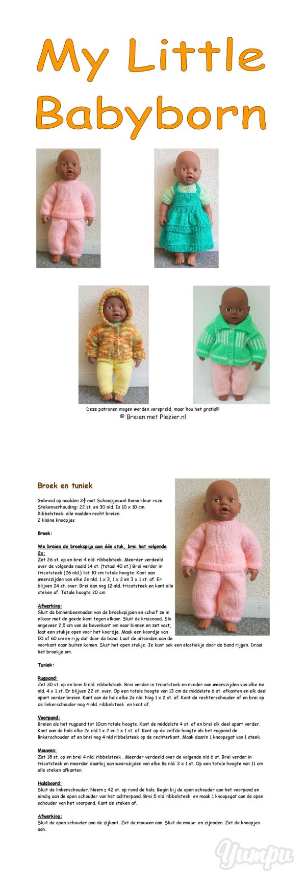 Free knitting patterns for doll clothes (in Dutch) | Crafts ...