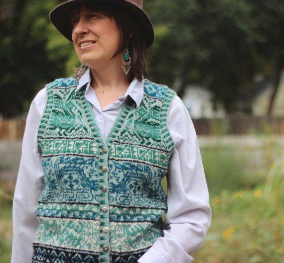 Kuntur Wasi Vest knitting pattern--fair isle stranded colorwork ...
