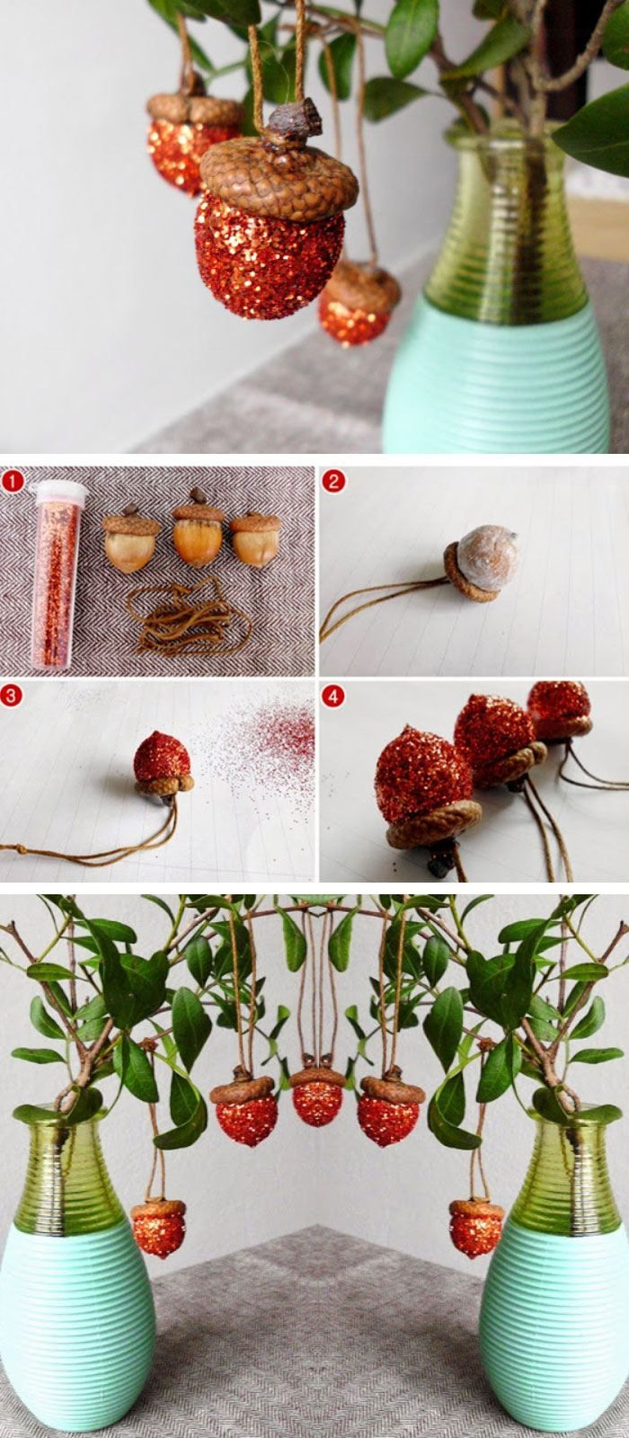 Last Minute Christmas Decorating Ideas Part - 48: Glitter Acorns | Click Pic For 22 DIY Christmas Decor Ideas On A Budget |  Last