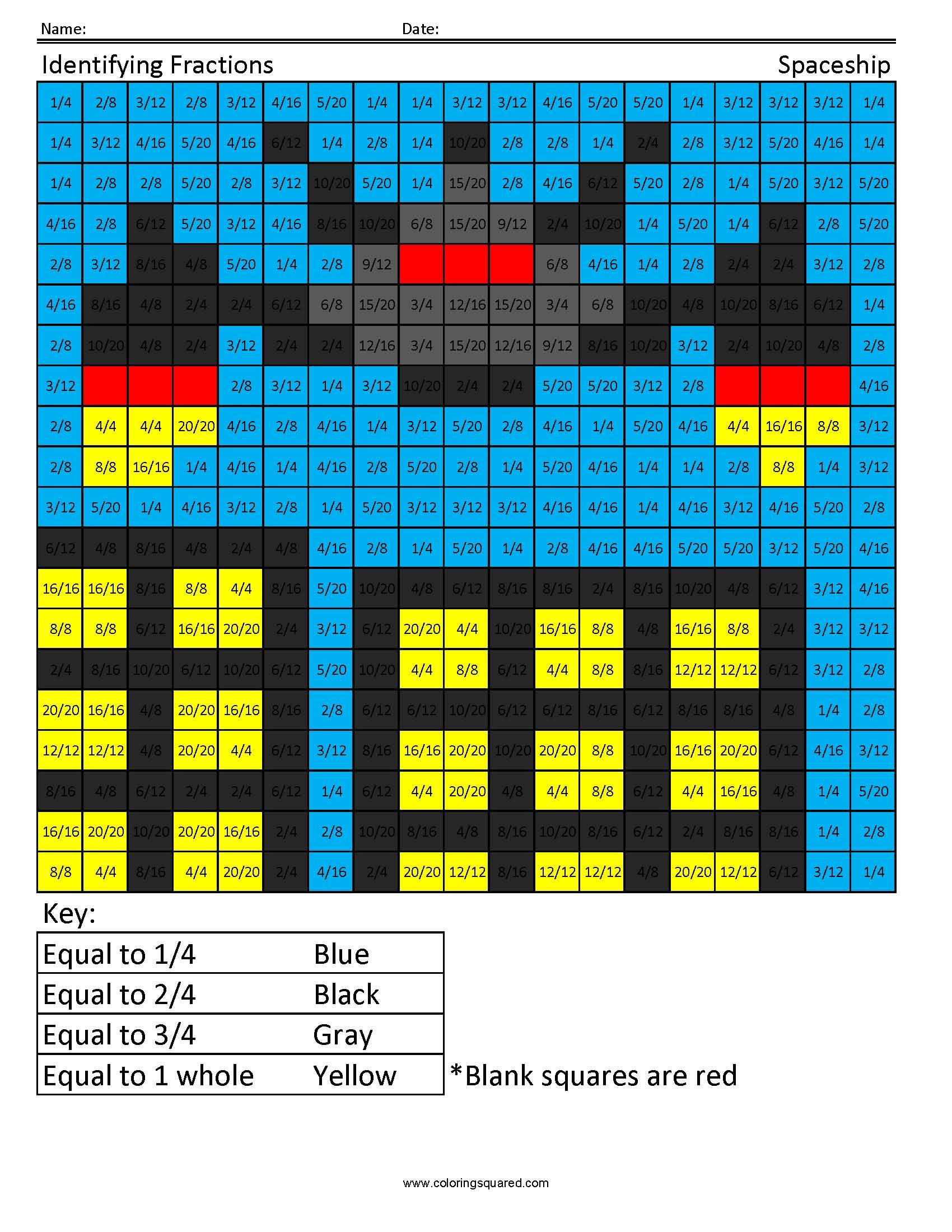 Identifying Fractions- Spaceship | Math | Pinterest | Spaceship ...