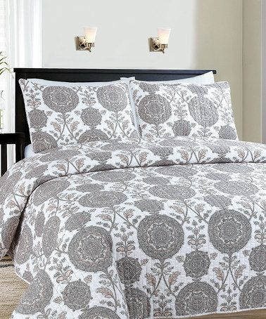 Loving this Gray & White Cove Reversible Quilt Set on #zulily! #zulilyfinds