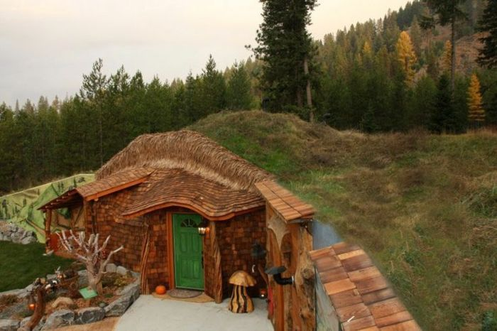 Hobbit Haus Selber Bauen Holz Gras Usa Montana