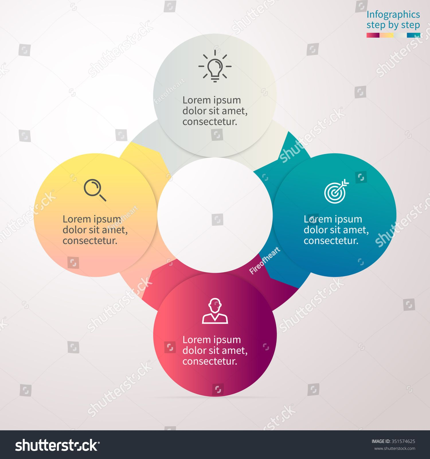 circular infographics with colored sections chart diagram with 4