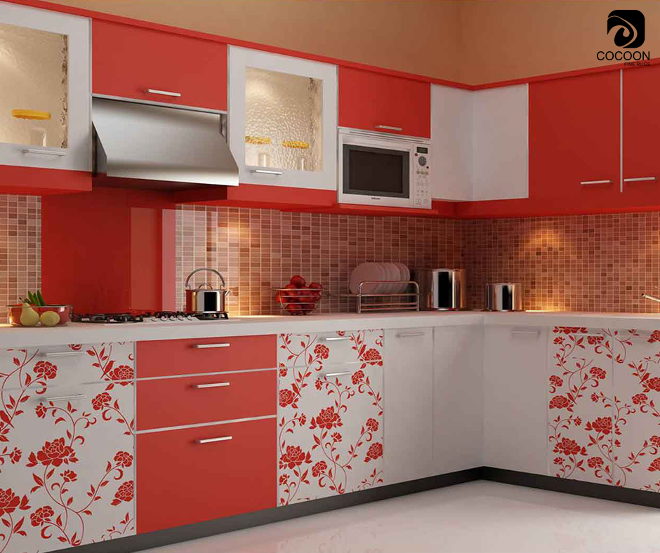 The Key To Pairing Prints Is Using A Matching Background Color Choose A Pattern That Shares Modular Kitchen Cabinets Kitchen Modular L Shaped Modular Kitchen
