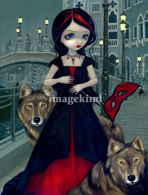 Loup Garou Red Riding Hood Jasmine Becket-Griffith CANVAS PRINT rococo wolf art