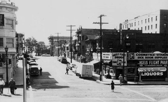 Theodore Hall West Third St Intersection With Grand Avenue Looking Southeast Toward Olive Street Angels F Bunker Hill Los Angeles Angel Flight Bunker Hill