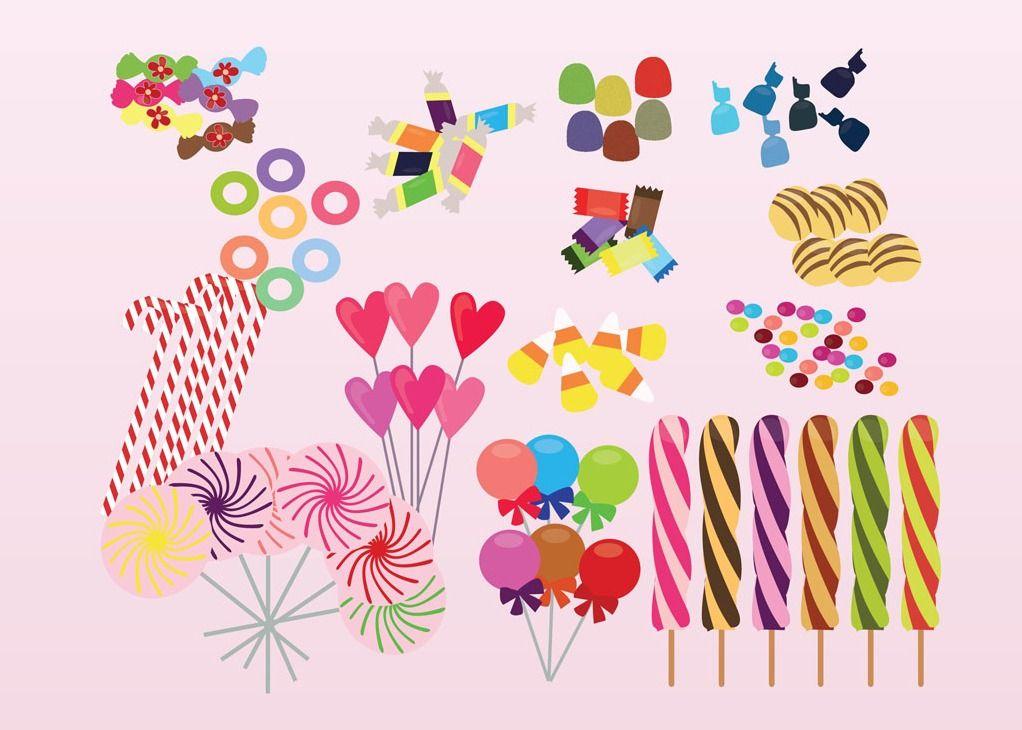 Dulces Vector De Caramelo Y Dibujos Animados Vector Vector Free Vector Sweet Treats