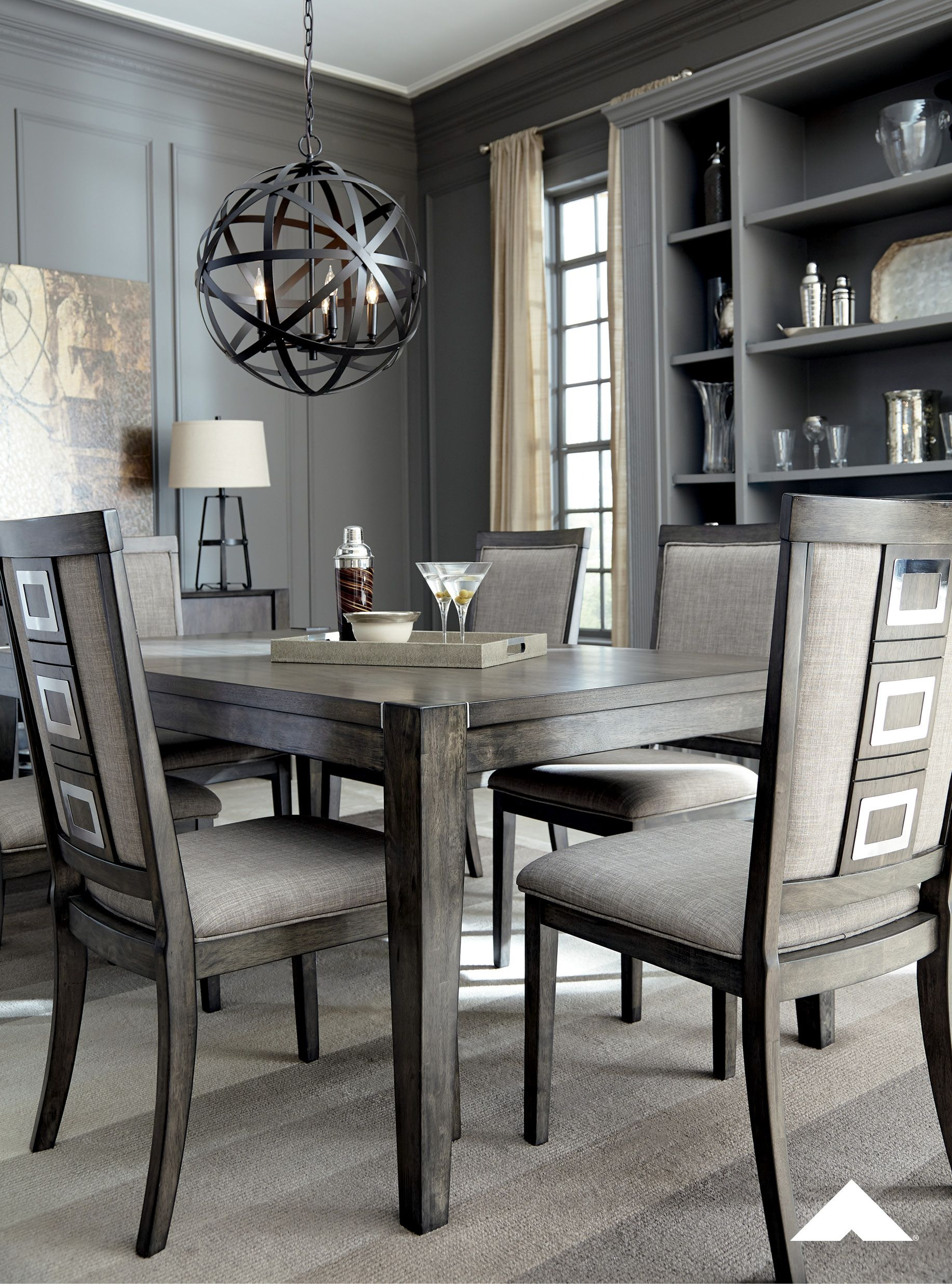 Chadoni Gray Dining Chair Cheers To This Dining Room Chair For Serving Up High End Design Mi With Images Grey Dining Room Table Grey Dining Tables Dining Room Table Set