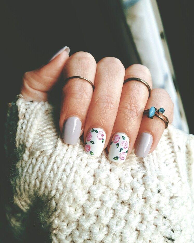 Powder gel | lexy Of London | roses nail Art | stack rings | nail ...