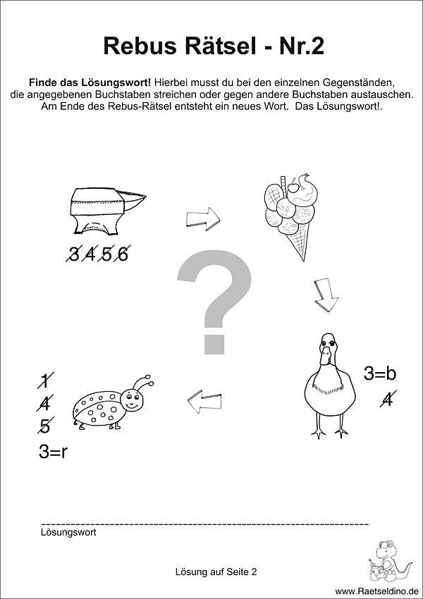 Rebus Rätsel mit Lösung | Kunstunterricht | Pinterest | Rätsel mit ...