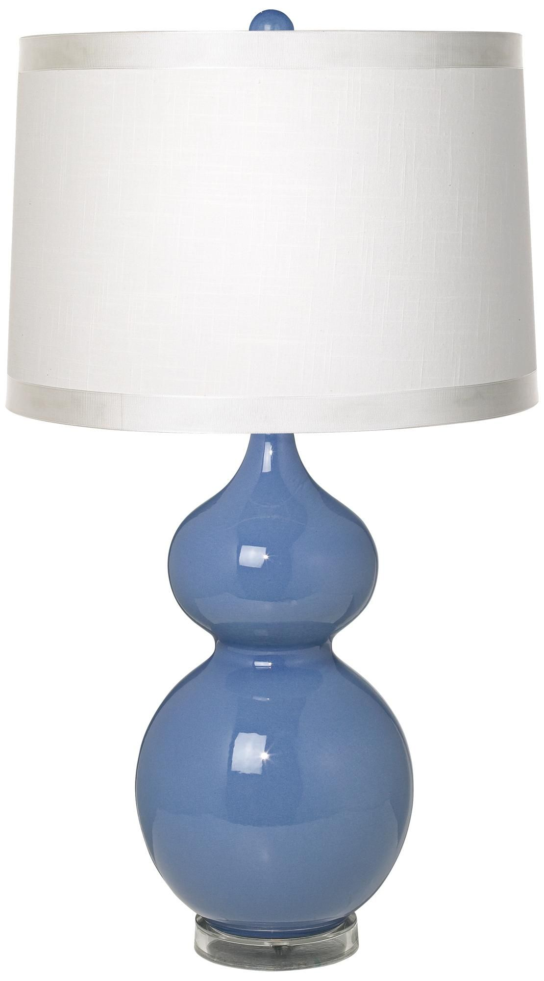 White Drum Shade Double Gourd Slate Blue Ceramic Table Lamp