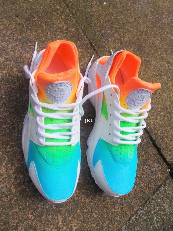 hot sales 8db00 4f80c Summer tie dye Nike Air Huarache The base shoe is a White Nike Huarache  which is then prepared and customised using professional products and  leather paints ...