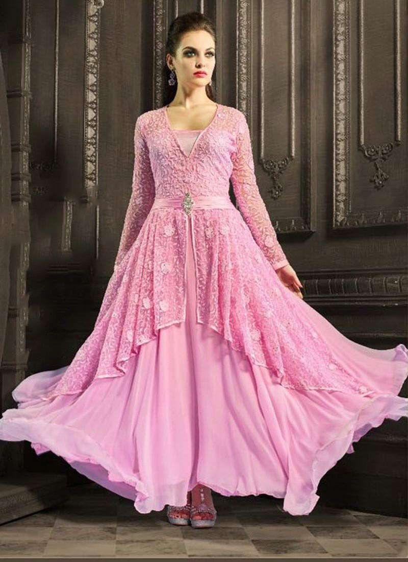 Enormous Pink Georgette Embroidery Designer Anarkali Suit At Best ...