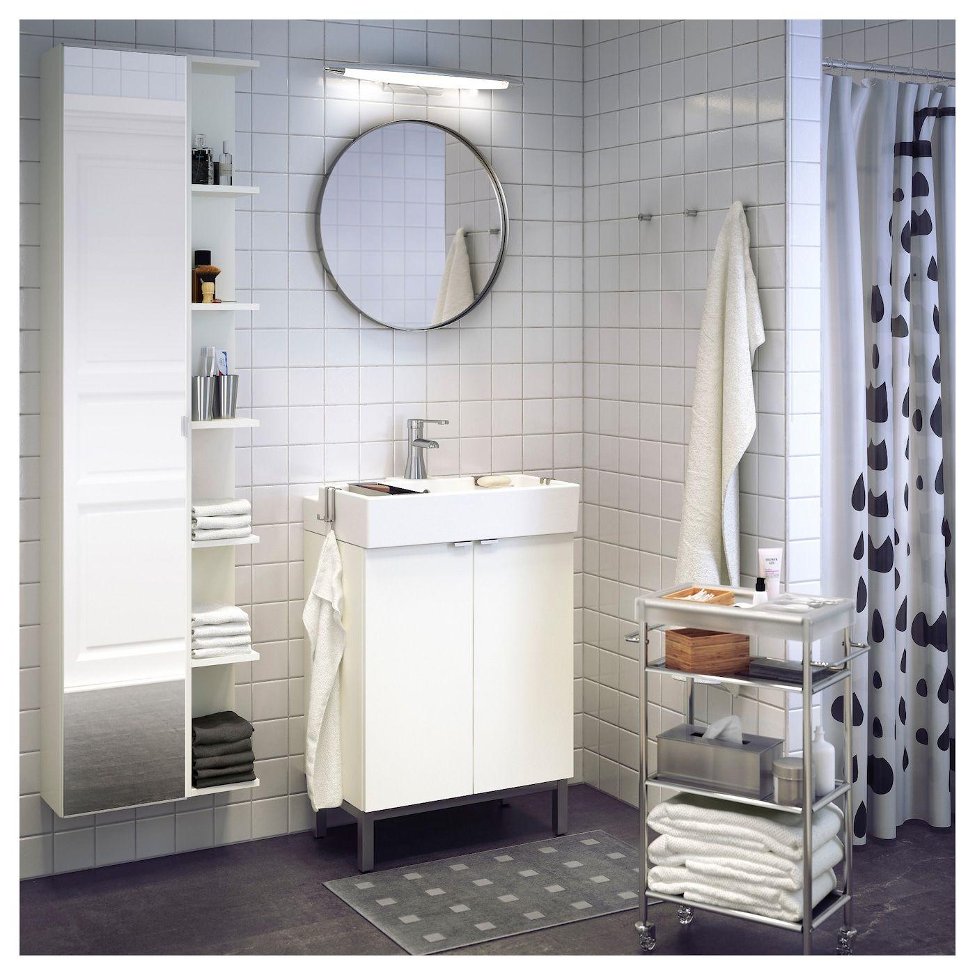 Mobile Bagno Ikea Immagini lillÅngen mobile alto con anta a specchio - bianco 30x21x179