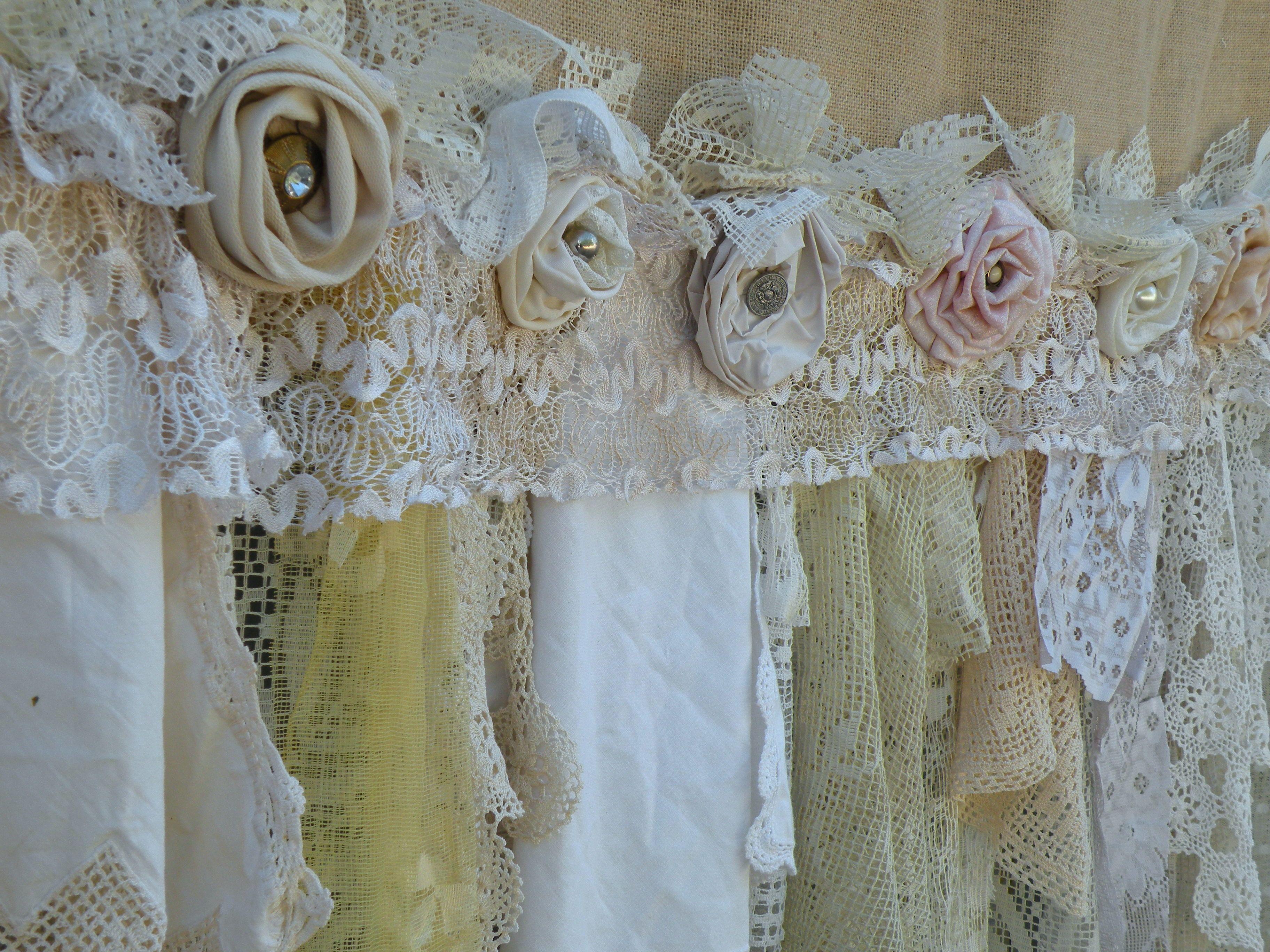 Burlap Vintage Lace Curtains Drapes Panel Boho Made To Order Etsy Vintage Lace Curtains Shabby Chic Panels Rustic Shabby Chic Decor