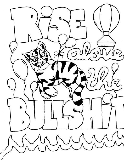 tiger adult coloring page swear 14 free printable coloring pages visit swearstressawaycom to download and print 14 swear word coloring pages - Swear Word Coloring Pages Printable Free