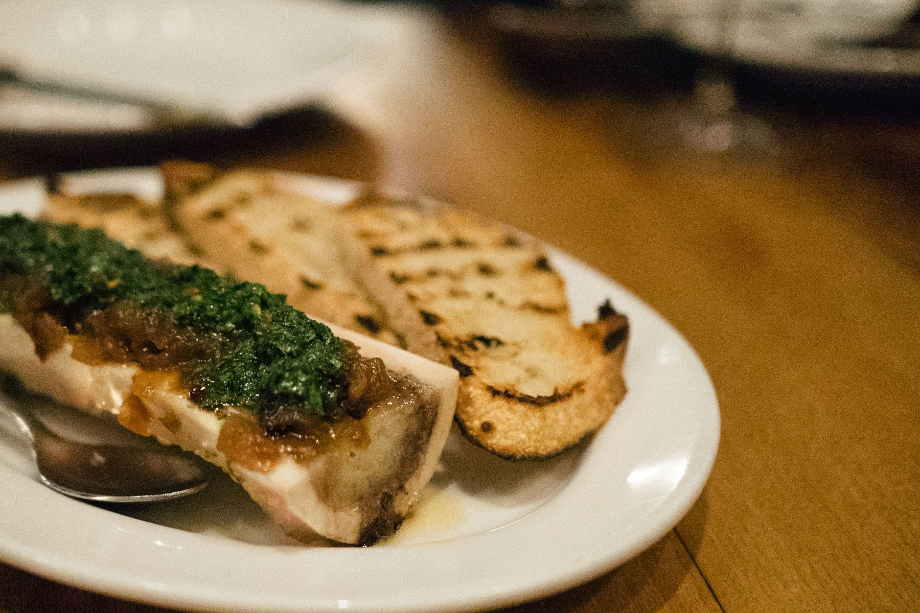 Los Angeles Cray Animal Restaurant Bone Marrow With Chimichurri And Caramelized Onions Food Chicken Livers Smoked Turkey