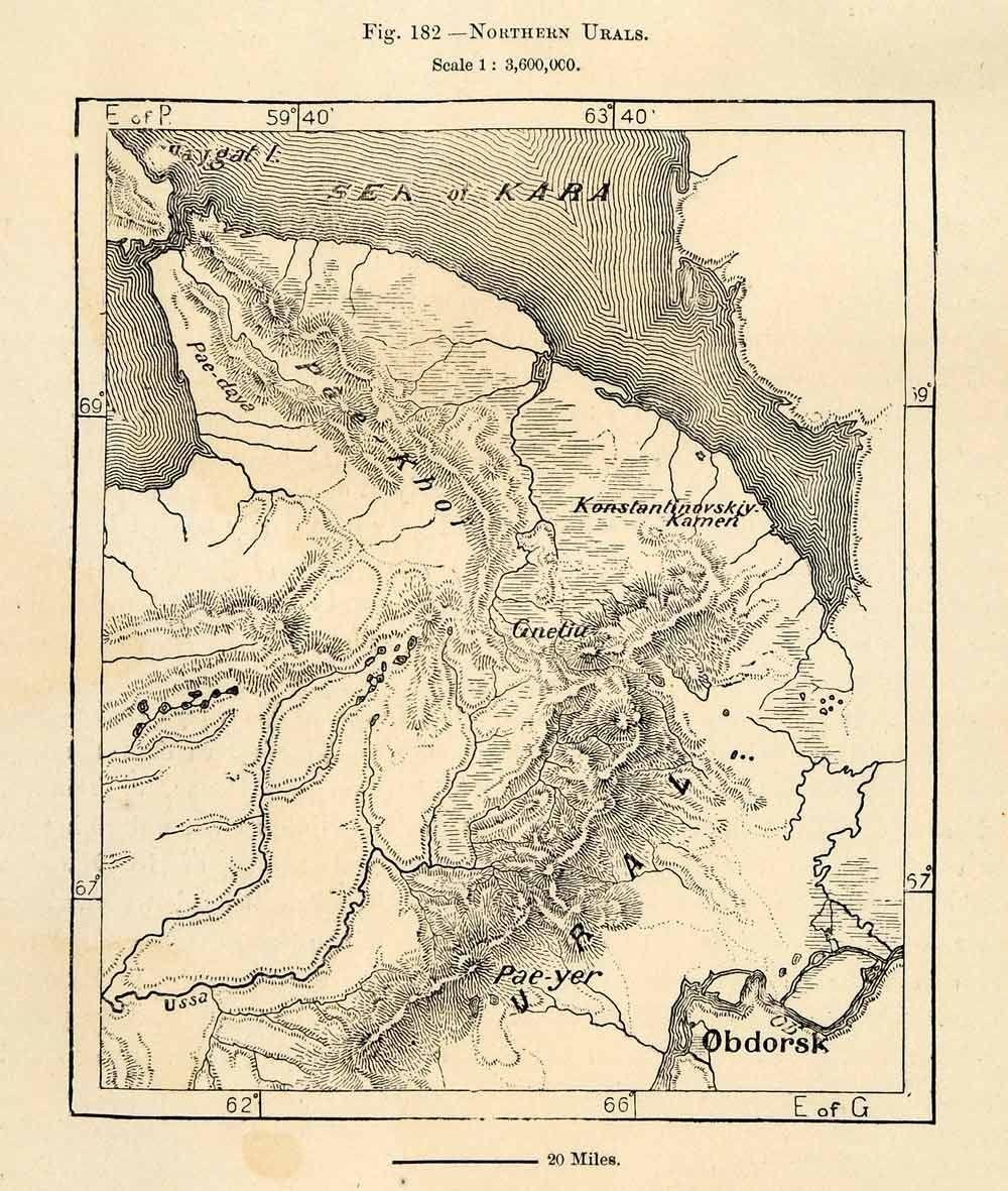 1882 Wood Engraving: Ural Mountains, Kara Sea & Obdorsk.   Lucomory ...