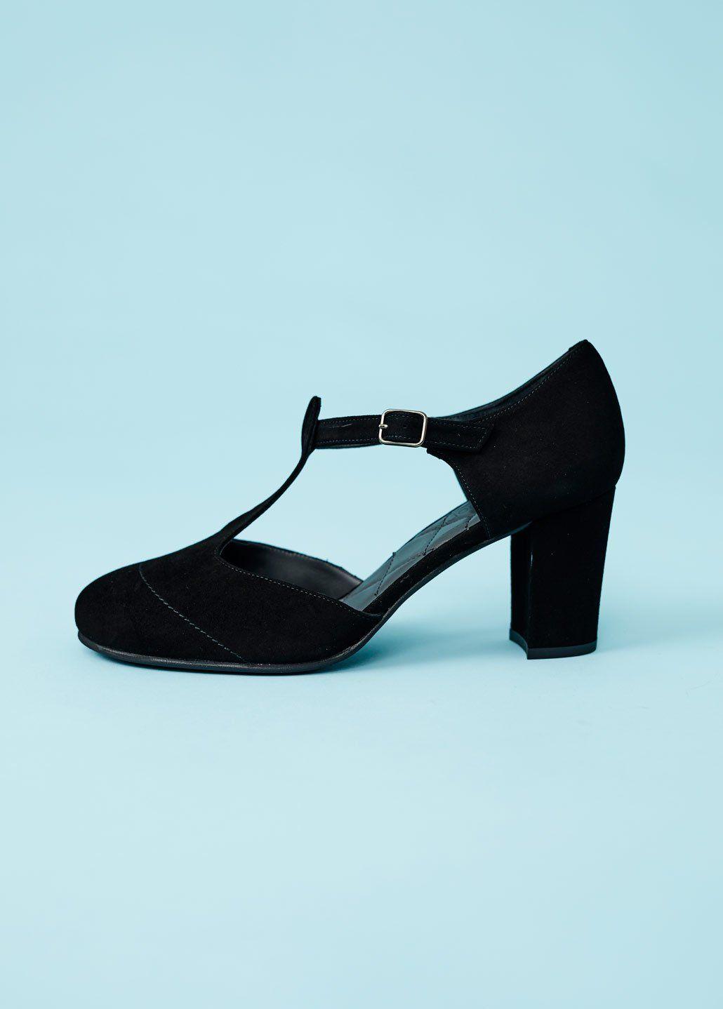 eksklusivt sortiment billigere godkendelsespriser Nordic ShoePeople: Ruskindspump med høj blokhæl - sort ...