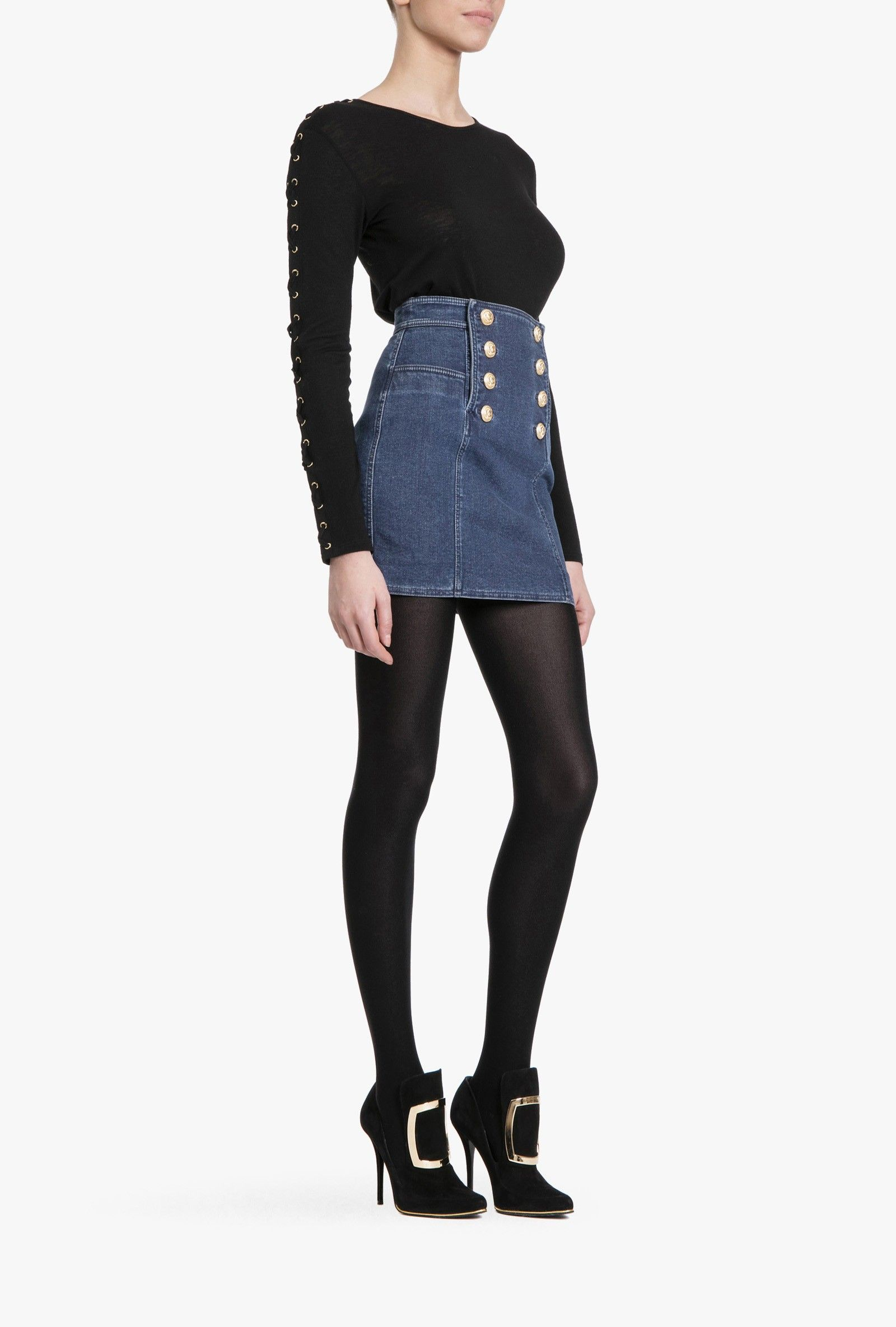 Viscose and wool jersey lace-up top | Women's tops | Balmain
