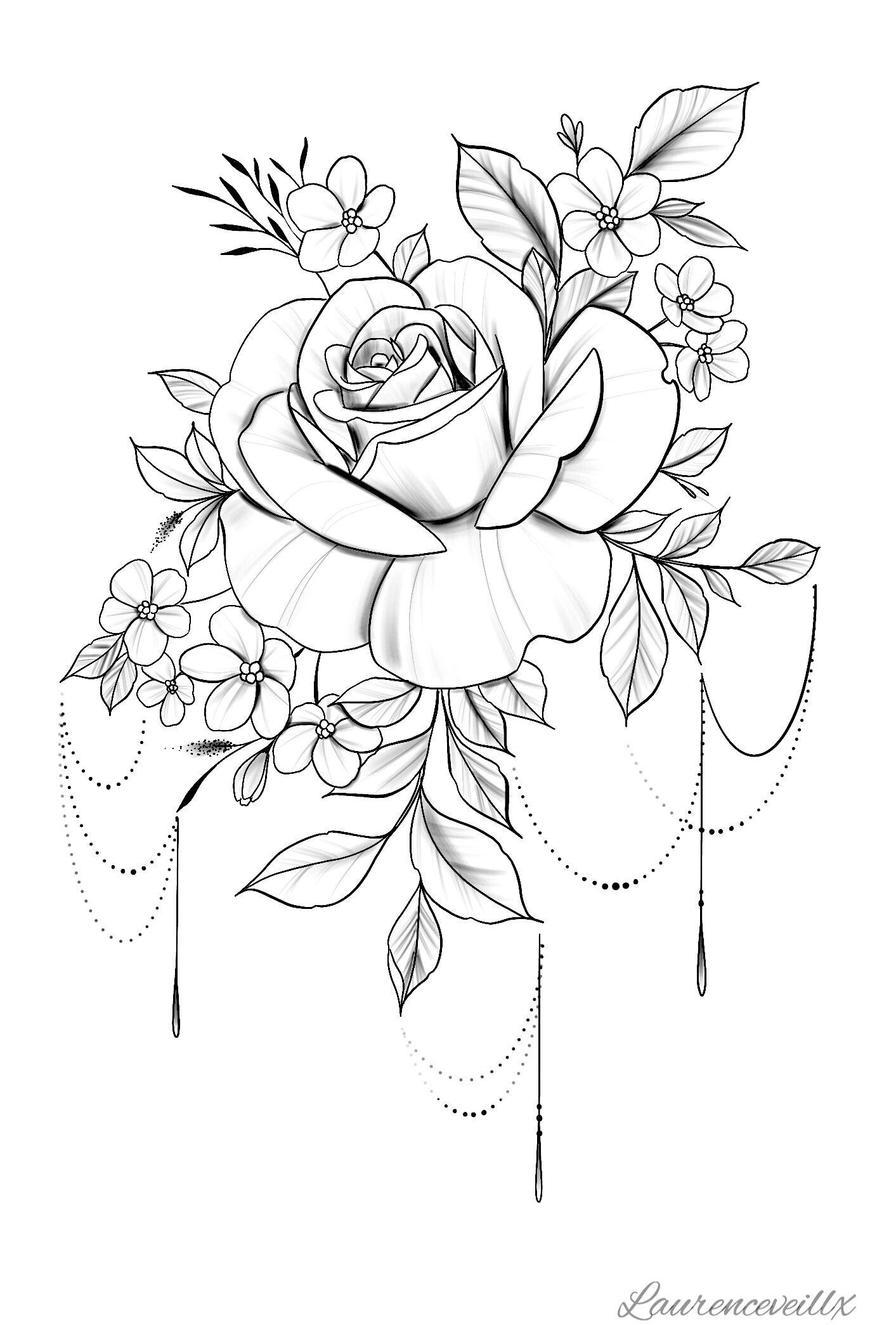 Tattoo Rose Flower Tattoo Design Available Instant Download Etsy Rose Flower Tattoos Rose Tattoo Design Printable Tattoos