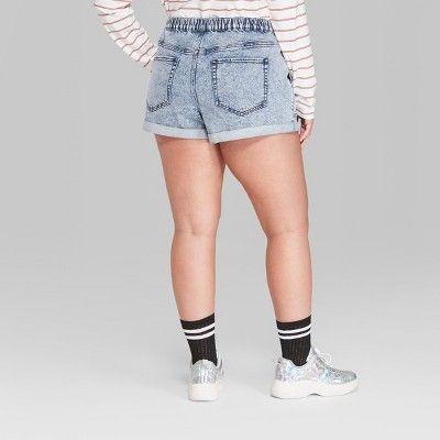 39c66f5fa872 Women's Plus Size High-Rise Elastic Waist Denim Shorts - Wild Fable Light  Acid Wash 4X, Blue