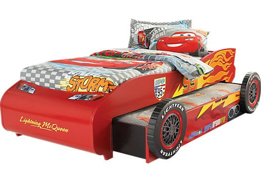 Disney Cars Lightning McQueen Red 5 Pc Twin Bed w/Trundle