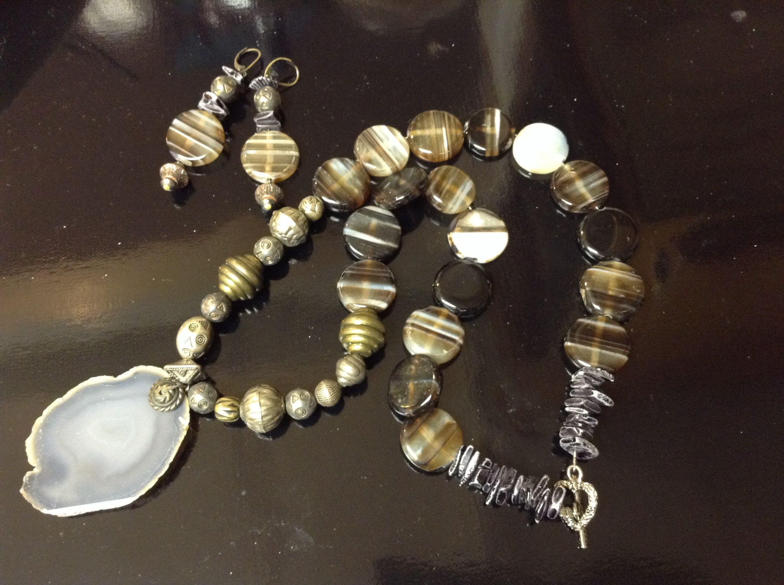 Then and Now- Vintage silvertone metal beads join agate beads and slabs.