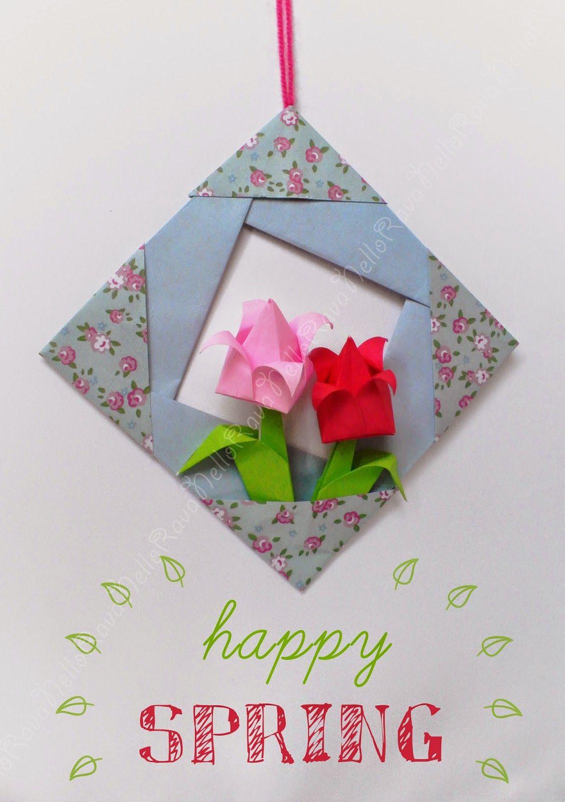 Orgima flower's frame- Cornice fiori origami - Primavera #happy #spring #origami